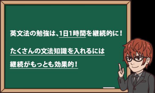 英文法の勉強は1日1時間を継続的に!たくさんの文法知識を入れるには、継続がもっとも効果的!