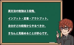 英文法の勉強は3段階。インプット・定着・アウトプット。 自分がどの段階からやるべきか、きちんと見極めることが肝心です。