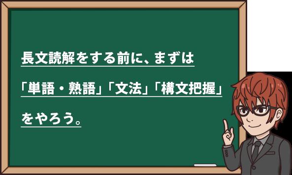 長文読解をする前に まずは「単語、熟語」「文法」「構文把握」をやろう。