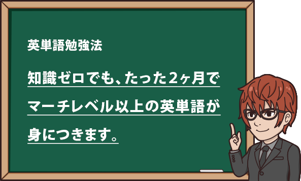 知識ゼロでも、たった2か月でマーチレベル以上の英単語が身に付きます。