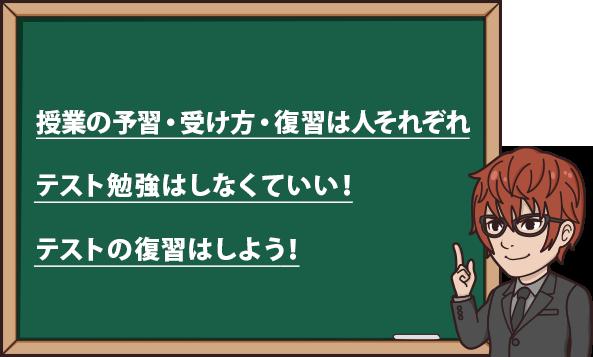 授業の予習・受け方・復習は人それぞれ テスト勉強はしなくていい! テストの復習はしよう!