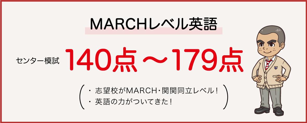 MARCHレベル英語はセンター140点から179点までが対象。MARCH志望はもちろん、英語の力がついてきた!という人にはこちら。