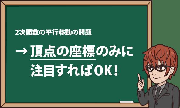 2次関数の平行移動の問題 →頂点の座標のみに注目すればOK!