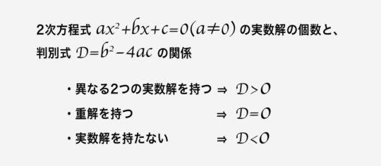 2次方程式ax^2+bx+c=0(a≠0)の実数解の個数と、判別式D=b^2-4acの関係 ・異なる2つの実数解をもつ ⇒  D>0 ・ただ一つの解を持つ⇒D=0 ・実数解を持たない⇒D<0