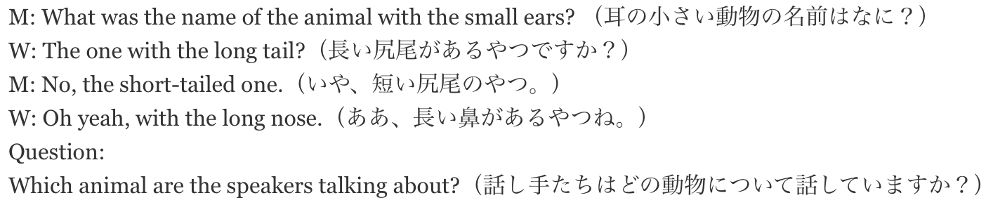 M: What was the name of the animal with the small ears? (耳の小さい動物の名前はなに?) W: The one with the long tail?(長い尻尾があるやつですか?) M: No, the short-tailed one.(いや、短い尻尾のやつ。) W: Oh yeah, with the long nose.(ああ、長い鼻があるやつね。) Question: Which animal are the speakers talking about?(話し手たちはどの動物について話していますか?)